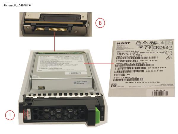 DX1/200S3 MLC SSD SAS 7.68TB 12G 2.5 X1