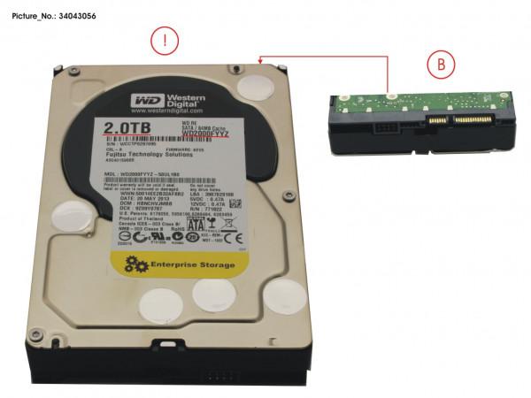 """HD SATA 6G 2TB 7.2K NO HOT PL 3.5"""" BC"""