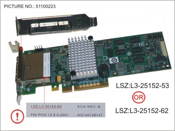 RAID CTRL SAS 6G 8PORT EX 512M FH/LP LSI